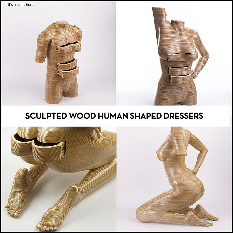 Peter Rolfe wood sculpted human shaped dressers