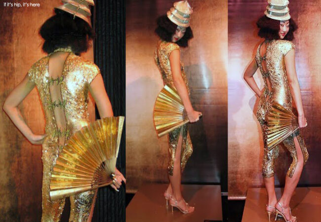 gold dress body painting