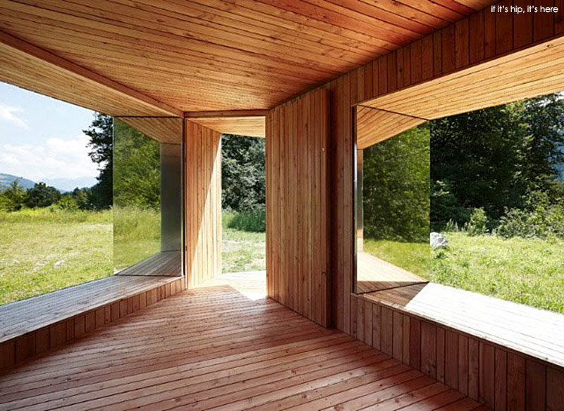 Philipp Baumhauer Wood Pavilion with Stainless Steel Shutters