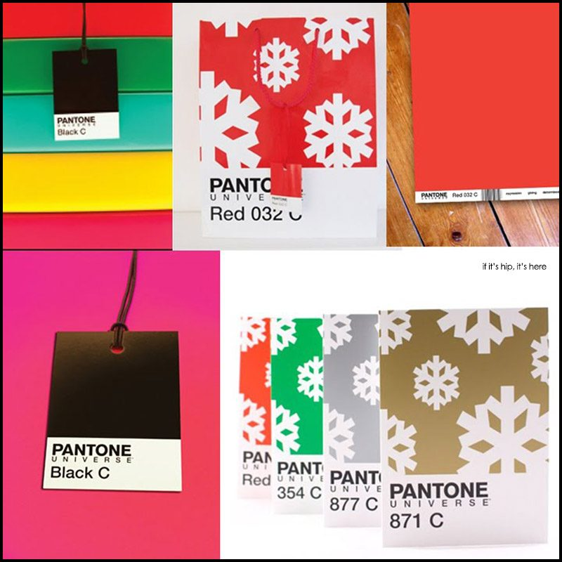 Pantone christmas wrapping paper gift bags tags and