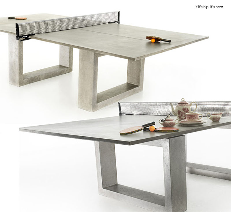 modern concrete steel ping pong table doubles as indoor. Black Bedroom Furniture Sets. Home Design Ideas