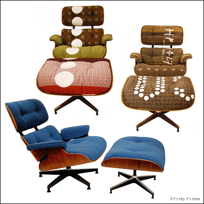 eames lounge chairs upholstered by Hella Jongerius