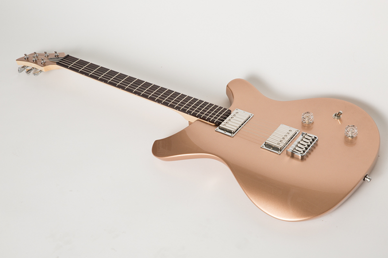 sinuous guitar painted rose gold