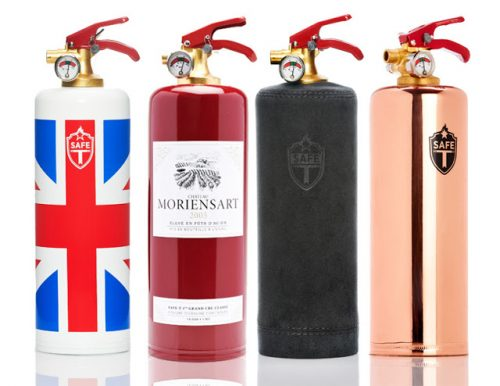 Read more about the article Extinguishers You Can Get Fired Up About. SAFE-T Designer Fire Extinguishers In Leather, Flags, Colors and More.
