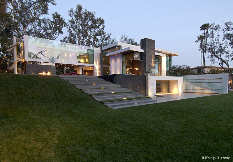Gorgeous green modern beverly hills home with a bowling for Modern underground home designs