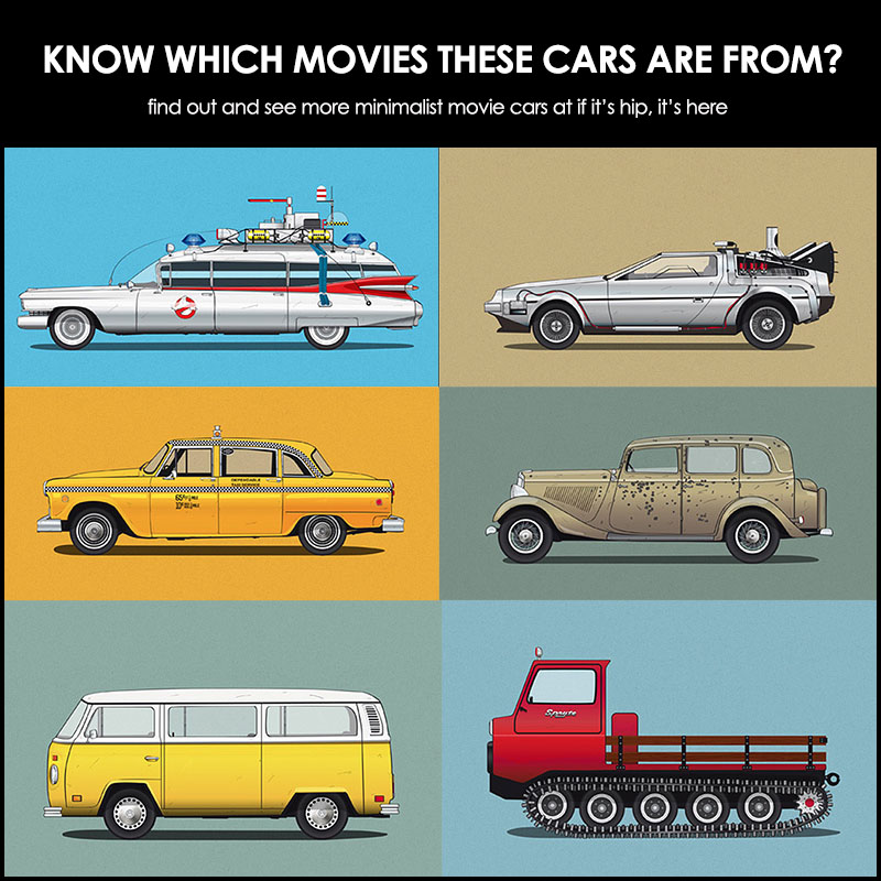Inspiring Minimalist Advertising Posters - Famous movie cars beautifully illustrated