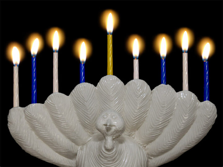 The Menurkey – A Thanksgivukkah Candelabra Created By A 9 Year Old.
