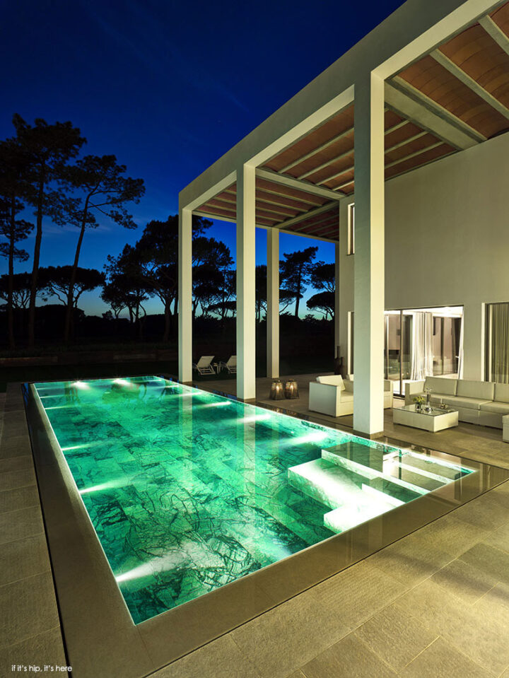 The San Lorenzo North Showcase Villa with Marble Tiled Pool at Quinta do Lago by de Blacam and Meagher.