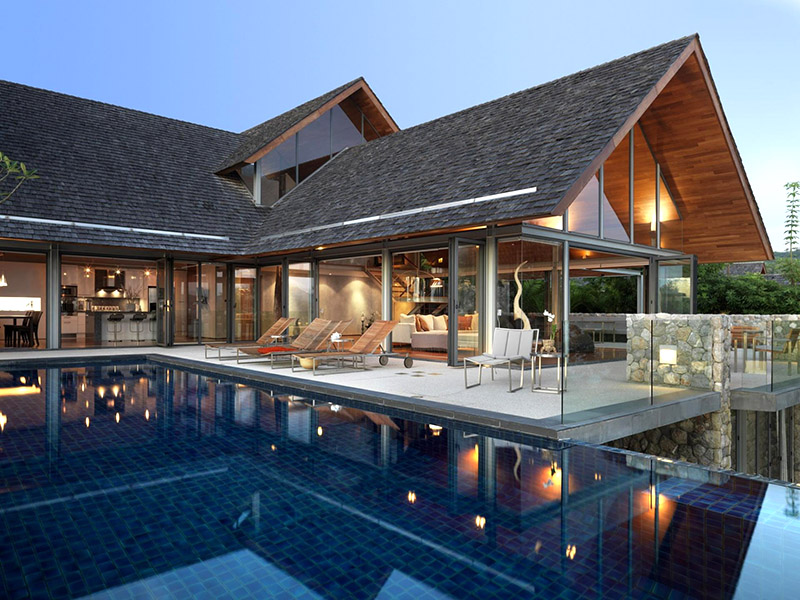 A private villa is a mix of modern and traditional thai for Traditional and modern houses