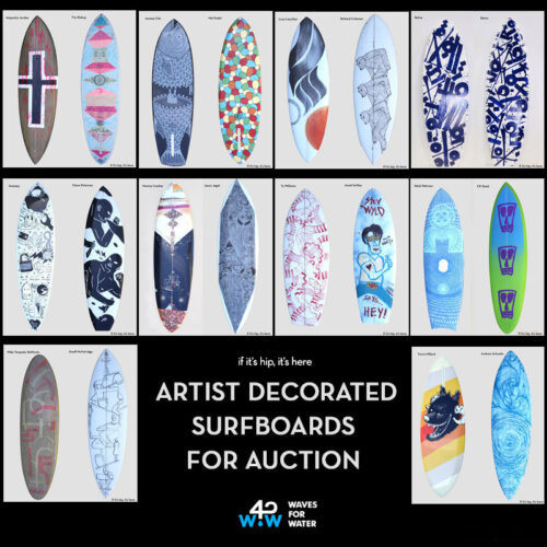 Read more about the article Artist Decorated Surfboard Auction Benefits Waves For Water.