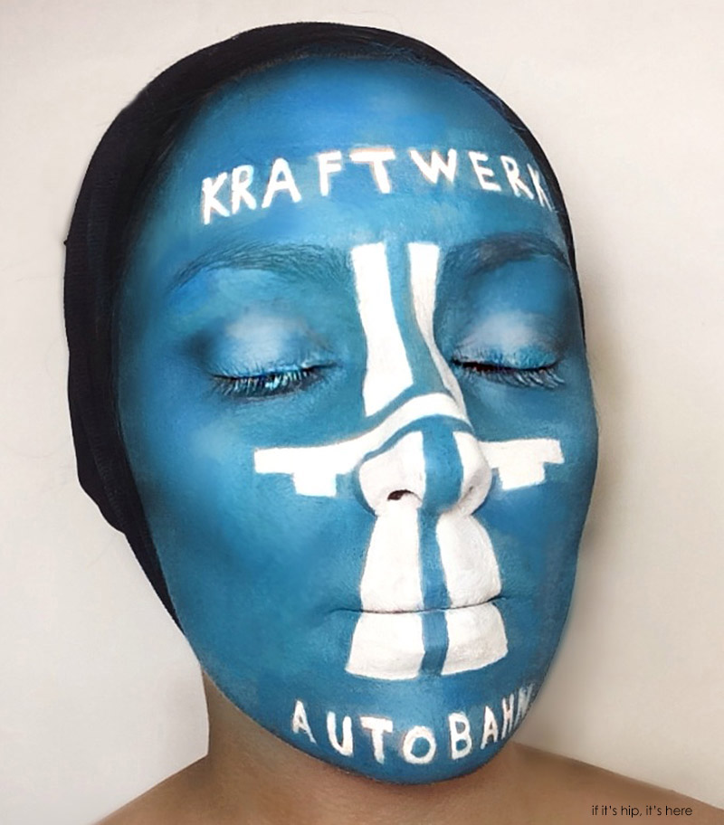 Natalie sharp paints her face as eight different album for Autobahn body and paint