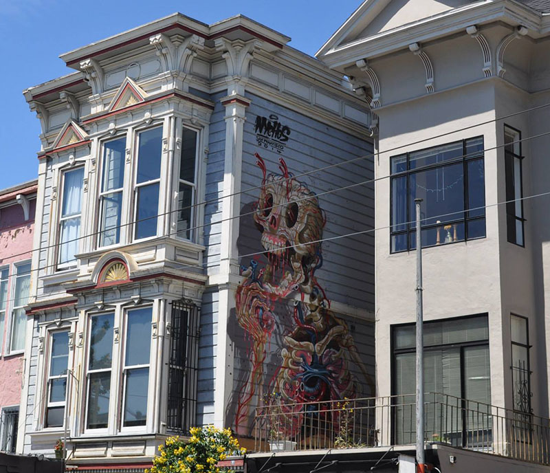 """NYCHOS' second Mural """"Eat Your Heart Out"""" in Haight Street San Francisco IIHIH"""