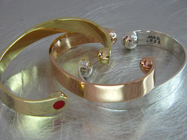 Red dot cuffs gold and silver