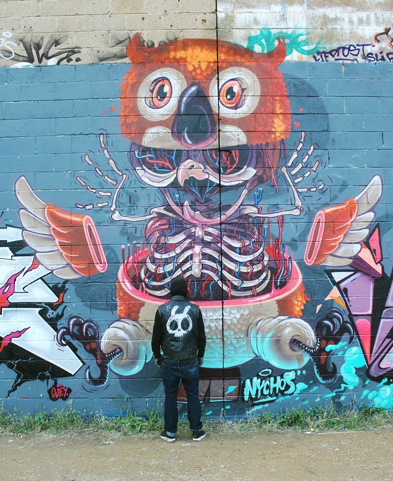 """The """"ghettobird"""" or """"Dissection of an owl"""" mural in London 2012 nychos IIHIH"""