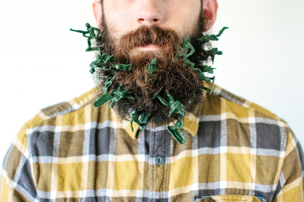 beard with green army men
