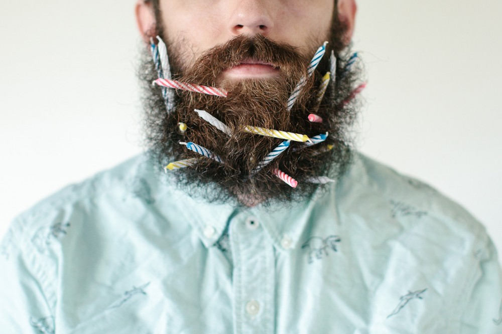 beard with birthday candles