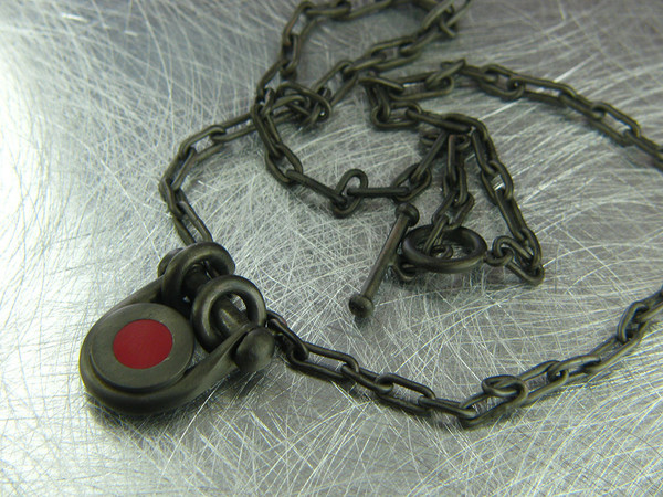 red dot necklace blackened