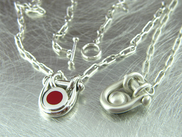 red dot sterling necklace