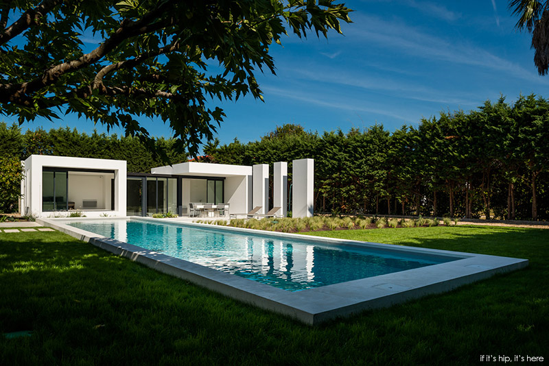 Modern Houses With Pool Pool House Stands In Contrast To The More Traditional Style Home It