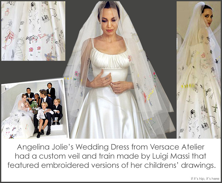 Angelina Jolie Pitts Wedding Gown And Veil Decorated With