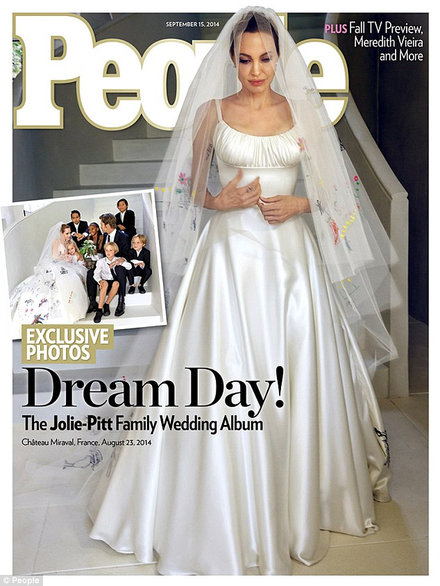 Angelina Jolie-Pitt's Wedding Gown and Veil Decorated With ...