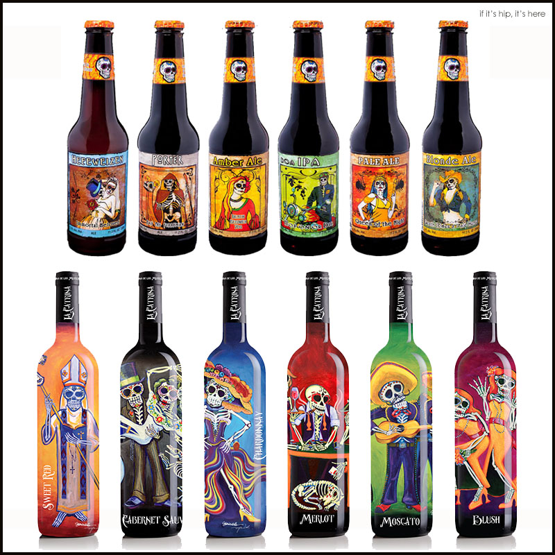 Beer and Wine Bottle Designs With A Muerto Motif