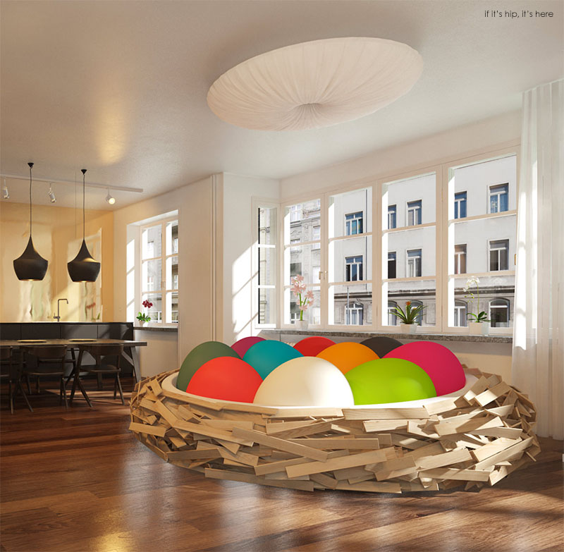 Good Birdsnest With Solid Colored Egg Poufs IIHIH