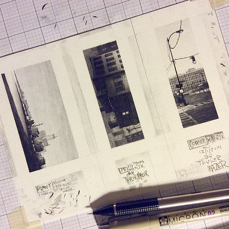 Micro Pen and Ink Drawings by Taylor Mazer