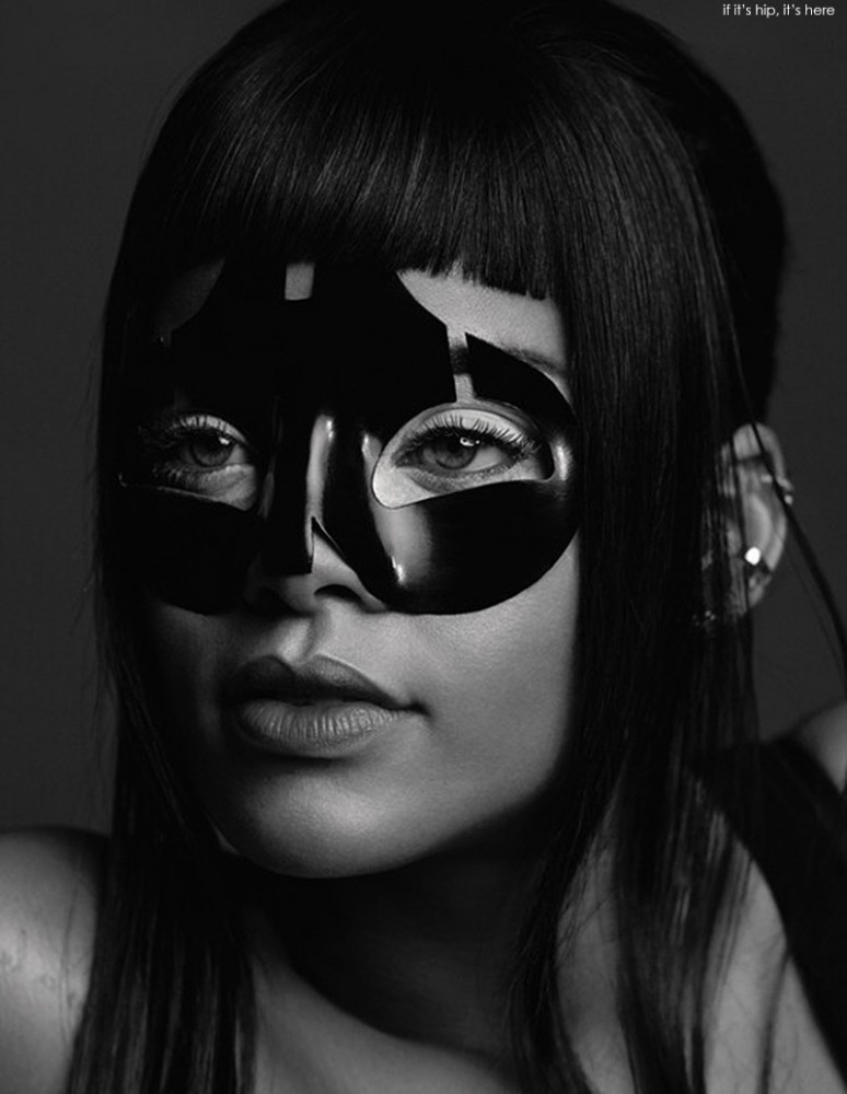 Rihanna wears a lacquer mask by Alexander McQueen