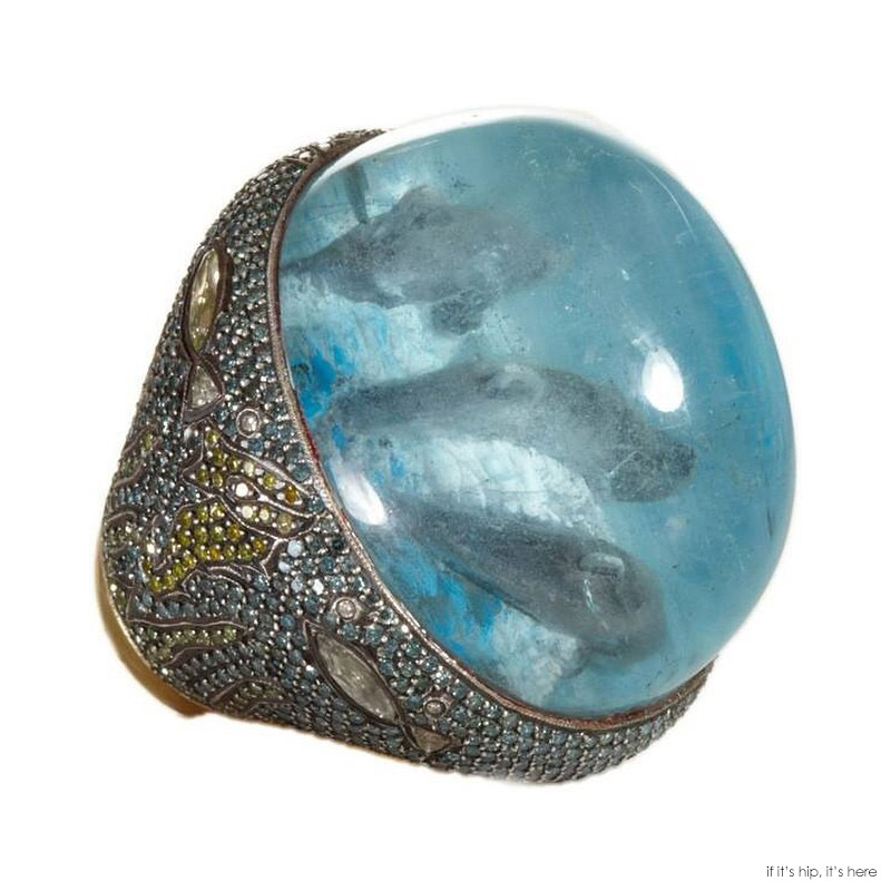 dolphins in gemstone ring