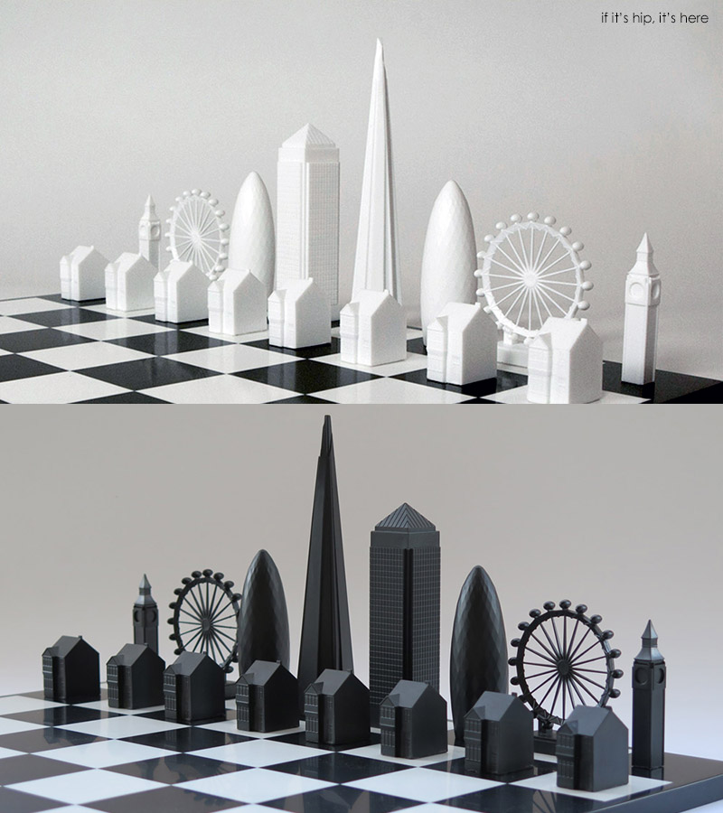 Skyline-Chess white and black pieces on board IIHIH
