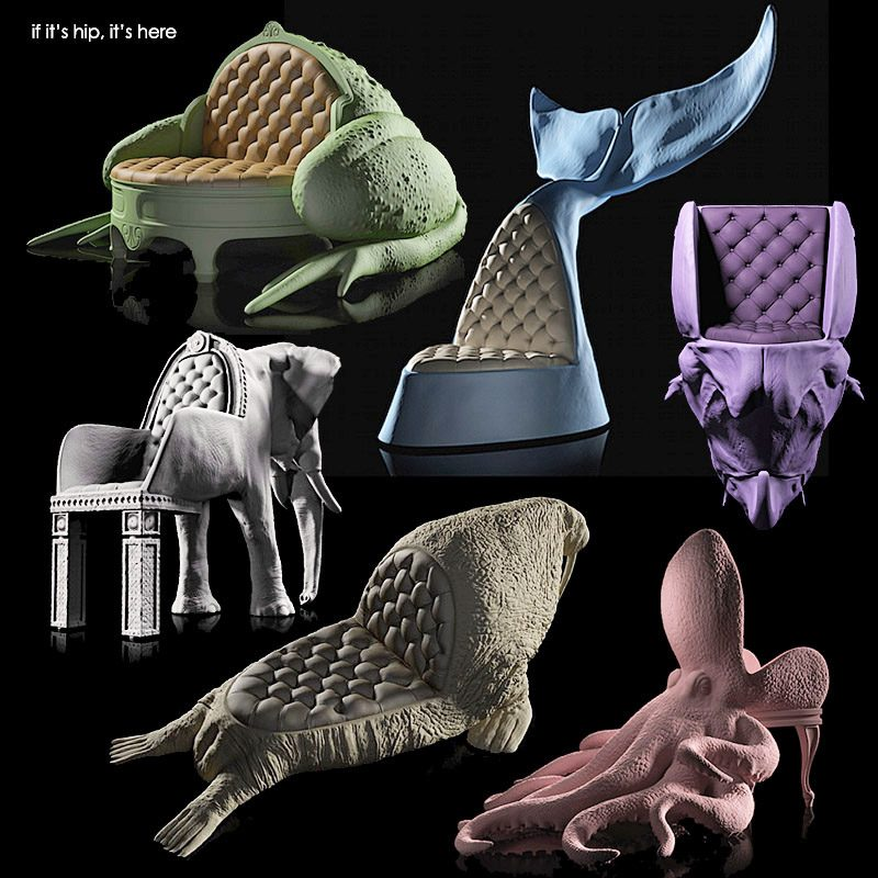 Animal chairs in color