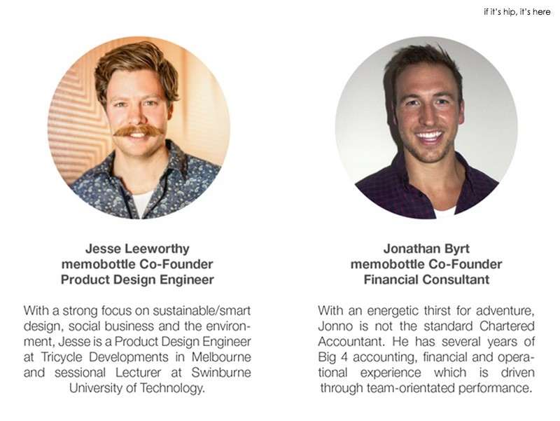 Jesse Leeworthy and Jonathan Byrt, co-founders of memobottle