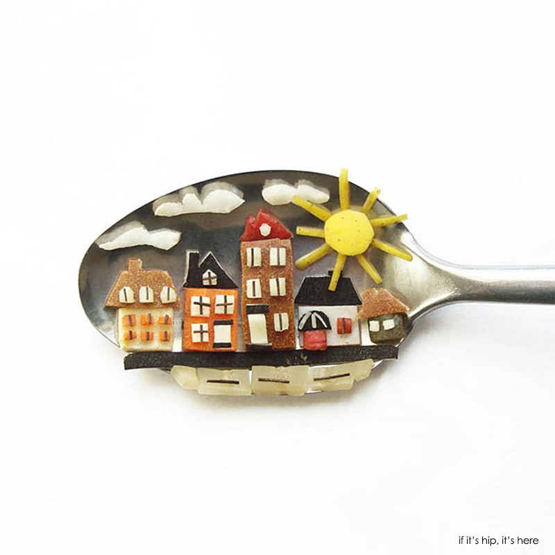 little houses on spoon