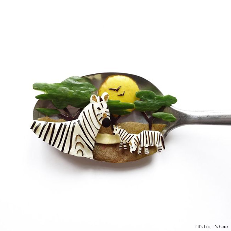 zebras made of food on spoon