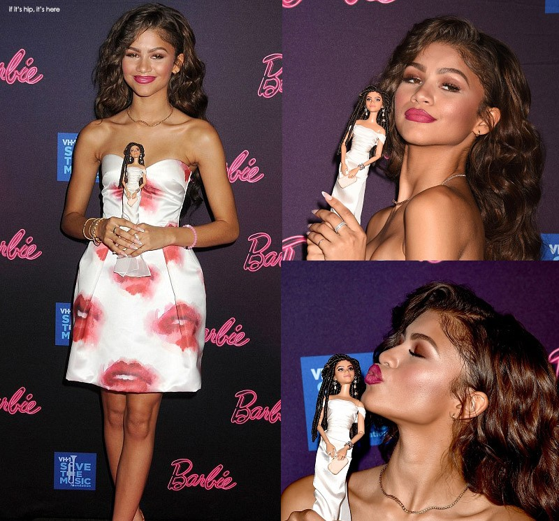 zendaya proudly shows of barbei doll in her likeness