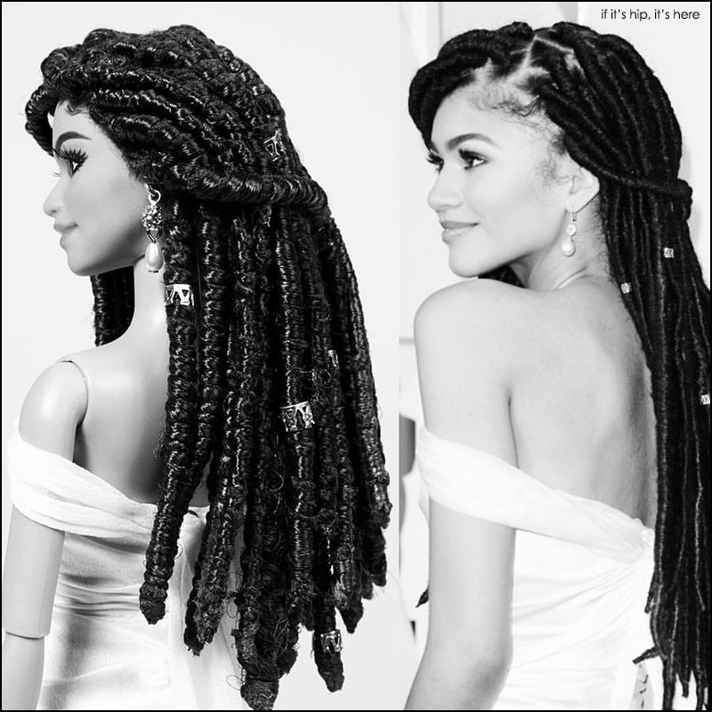 zendaya with doll black and white