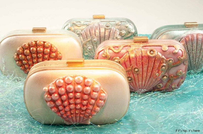White chocolate clutches filled with pink velvet cake