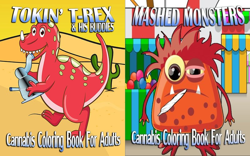 cannabis coloring book trex and mashed monsters