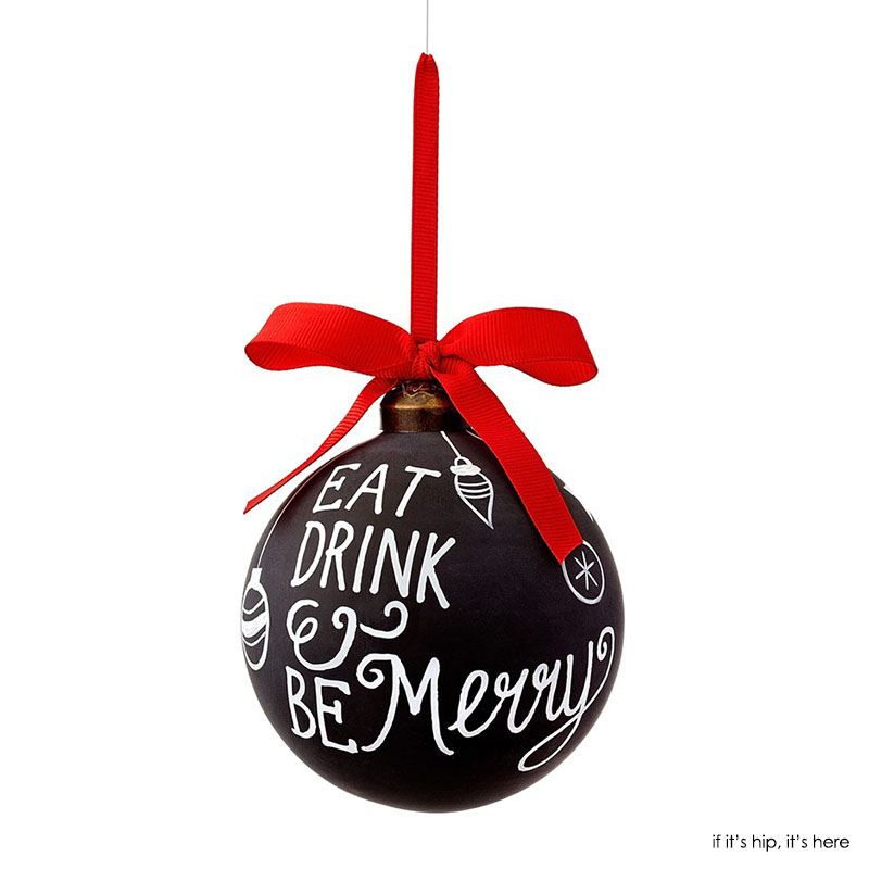 eat drink and be merry chalkboard ornament