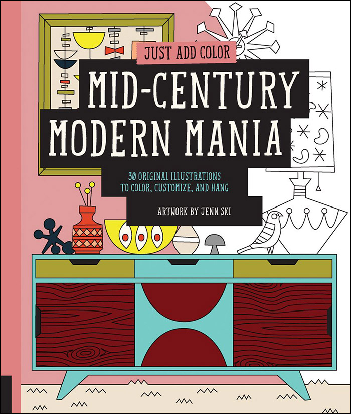 mid century modern mania coloring book