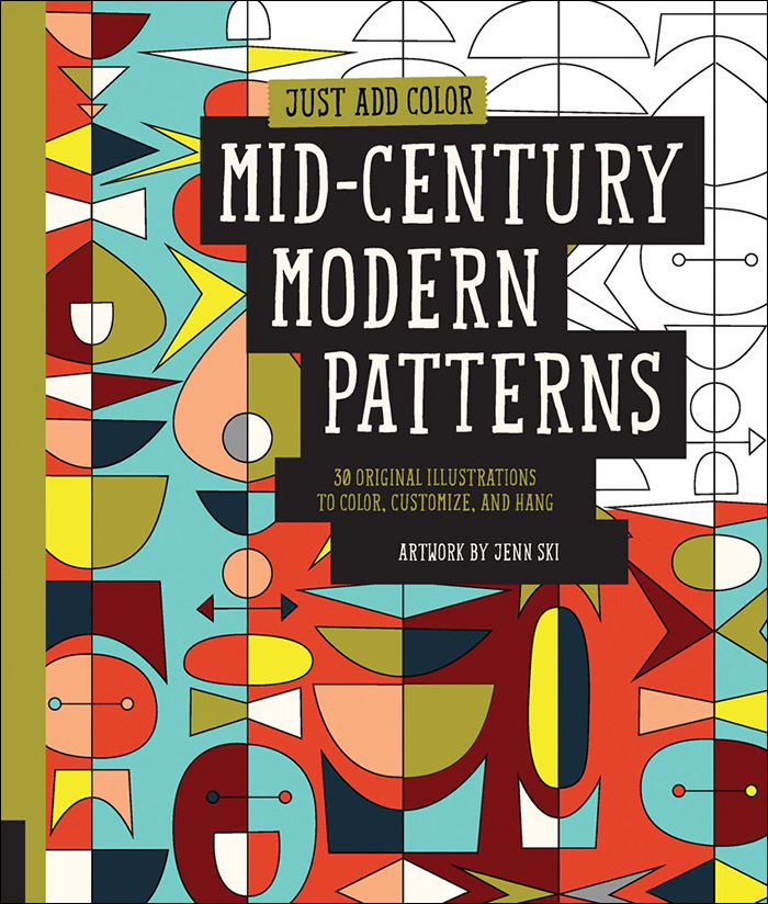 mid century modern patterns coloring book