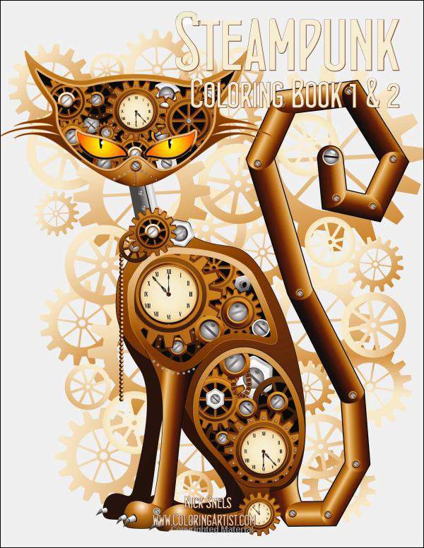 steampunk coloring book 1 and 2