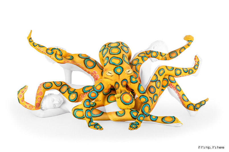 emma fay body painting blue ringed octopus