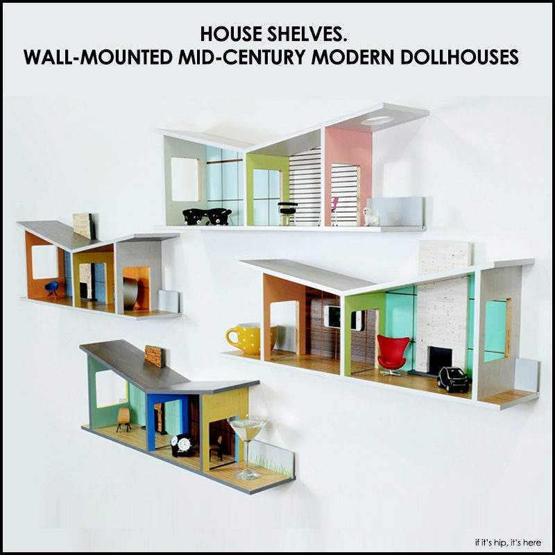 wall mounted mid-century modern dollhouses