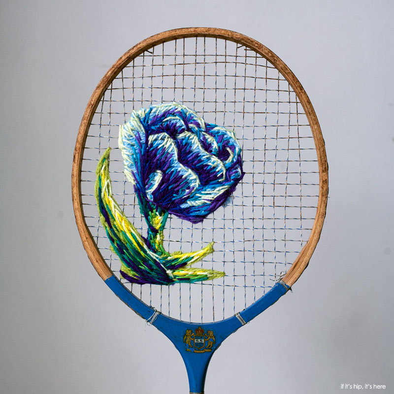 Embroidered Tennis Rackets by Dannielle Clough
