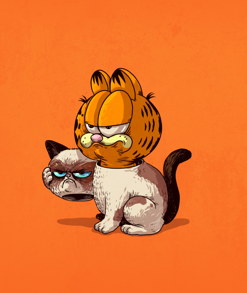 grumpy cat and garfield icons unmasked