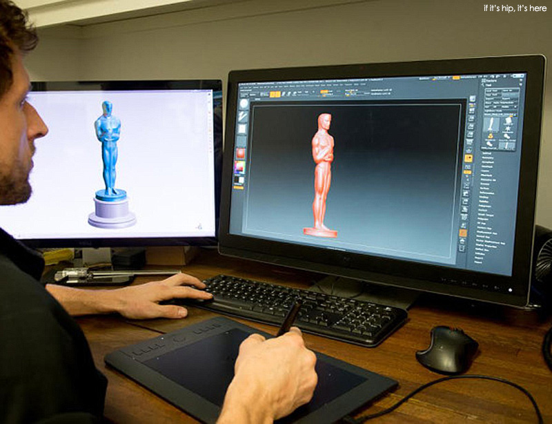 designing the 2016 Oscar on the computer using a 3D program