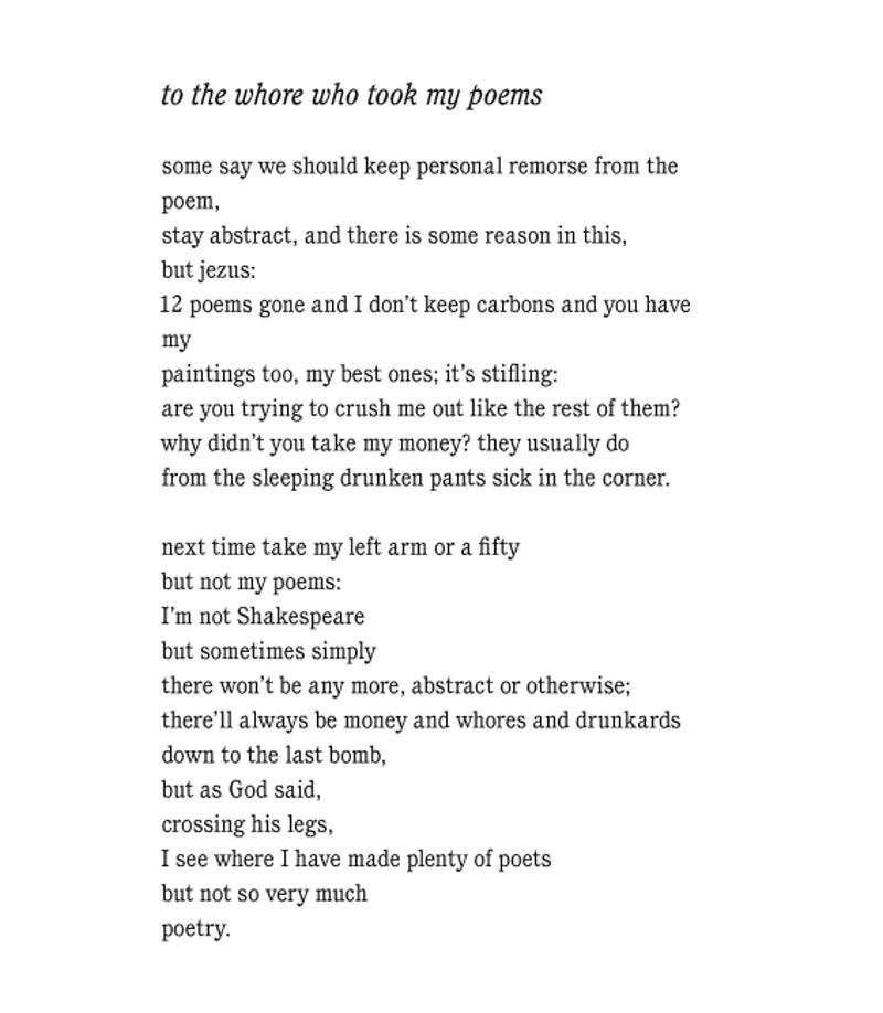 to the whore by charles bukowski