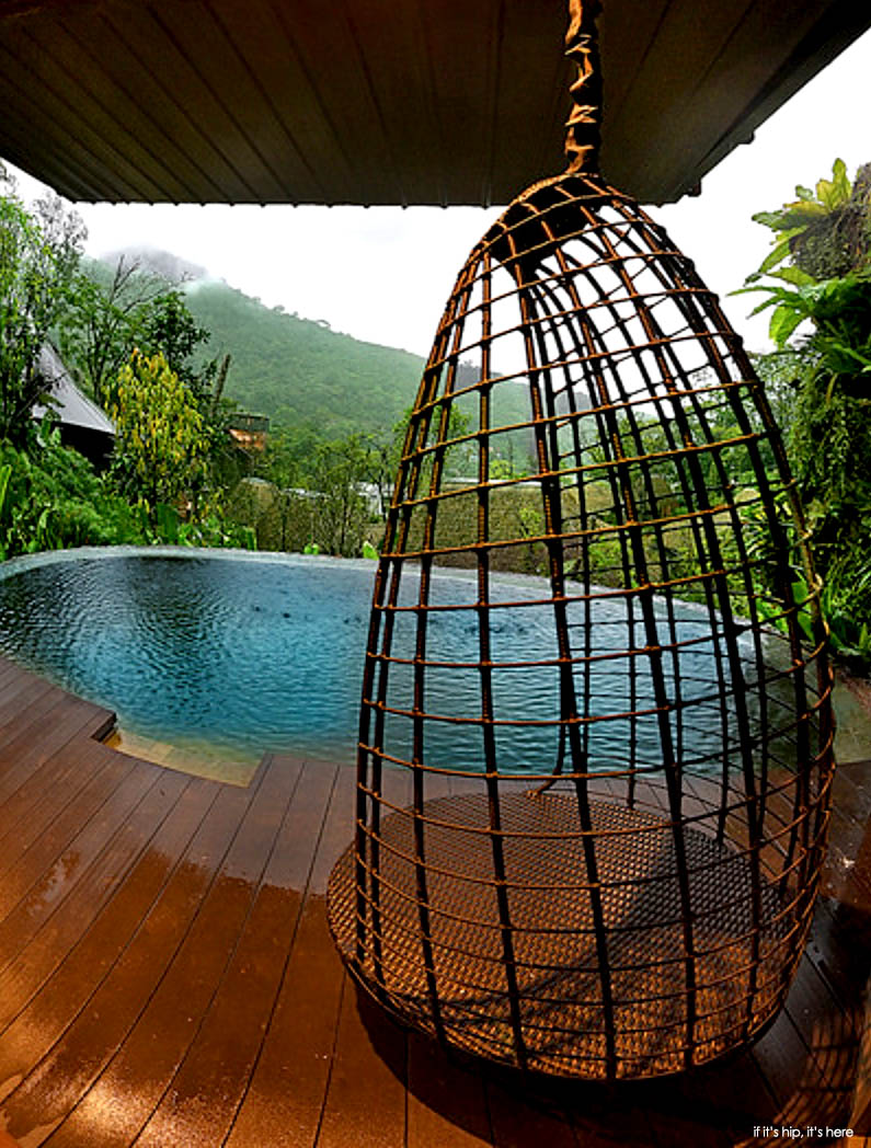 tree house villa looking out over pool, if it's hip, it's here
